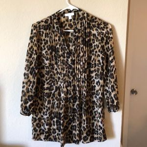 Sheer leopard tunic/blouse